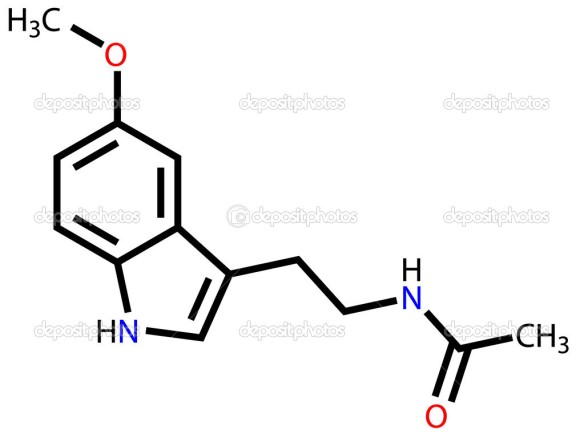 Structural formula of melatonin on a white background
